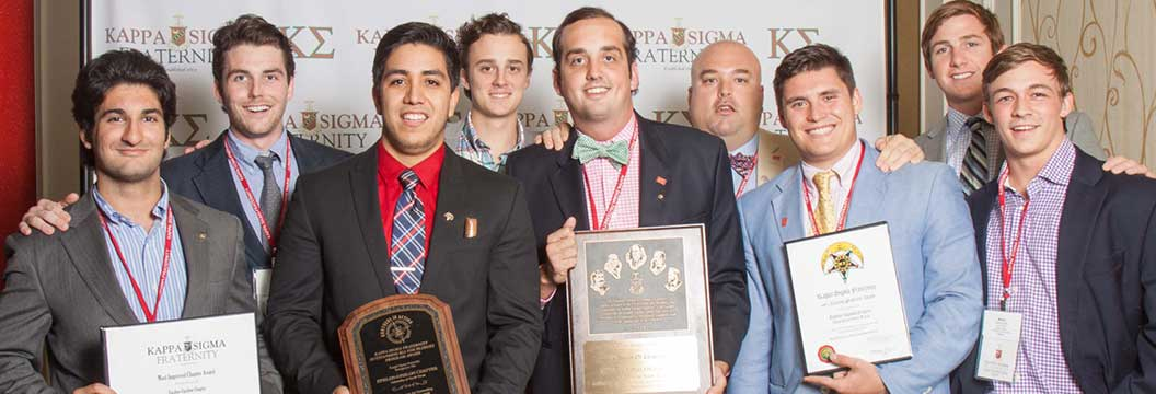 convention photo example - fraternity men with awards